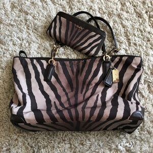 Coach Madison Zebra spring Tote and Wallet